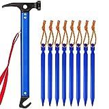 Wakauto 9Pcs Carpa de Escalada Al Aire Libre Tienda de Campaña de Uñas Martillo de Uñas Multifuncional (1Pcs Martillo Azul 8Pcs Uñas de Tierra Azules)