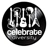 Vinyl Record Wall Art | Celebrate Diversity | Guitarist Gift | Repurposed Vintage LP Record Decor