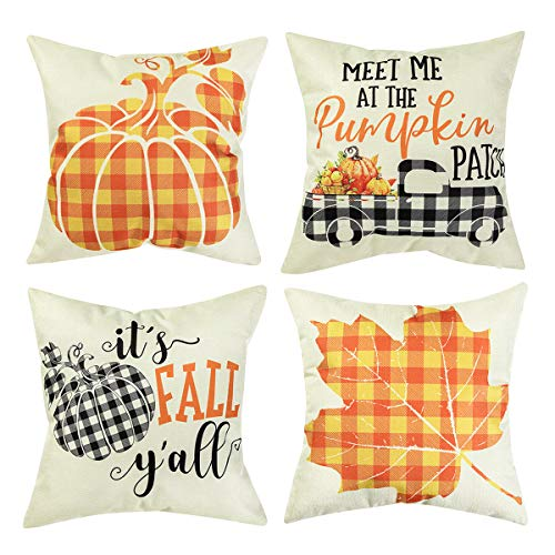 Set of 4 Thanksgiving Throw Pillow Covers Yellow Buffalo Plaid Leaves Pumpkin Pillow Case Pillow Cushion Cover for Autumn Decoration Farm Home Car Sofa Bed Couch, 18 x 18 Inch