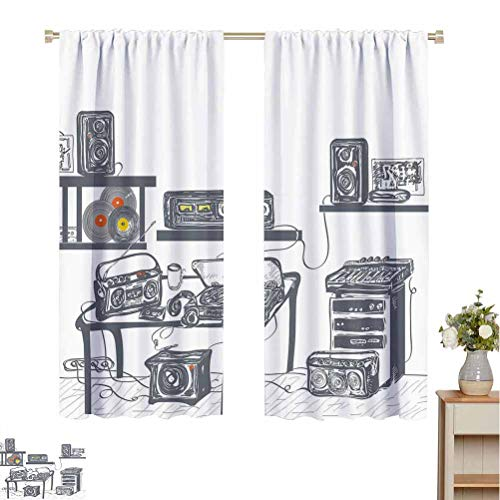 Best Prices! Flyerer Modern Insulated Blackout Curtain Recording Studio with Music Devices Turntab...