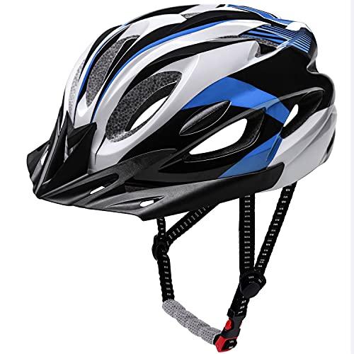 Casco Bici,KINGLEAD Casco da Bicicletta, Certificato CE Casco da Ciclismo Uomo Donna con Visiera Parasole Staccabile Adulti Casco Bici da Corsa Casco da Mountain Bike con Cinturino a Sgancio Rapido