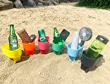 Home Queen Beach Cup Holder with Pocket, Multifunctional Sand Cup Holder for Beverage Phone Sunglass Key, Beach Accessory Drink Sand Coaster, Set of 6 (Navy, Teal, Yellow, Orange, Blue and Pink)