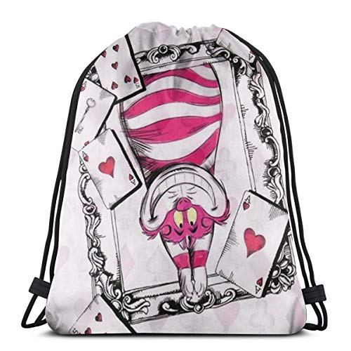 DNBCJJ Klassischer Kordelzug-Tasche, Alice Grinsekatze Fitness-Rucksack, Schultertasche, Sport-Aufbewahrungstasche für Männer und Frauen