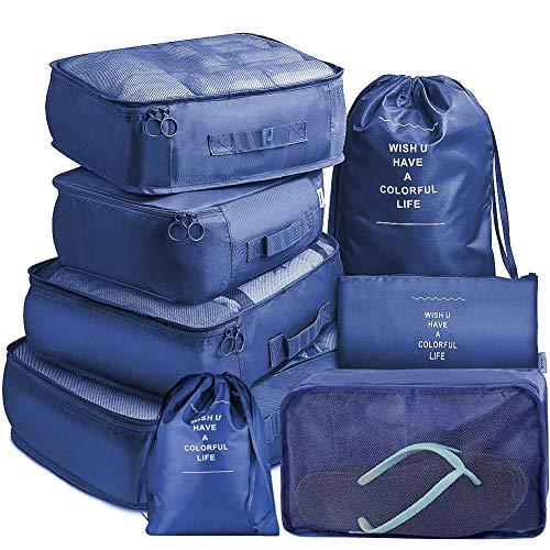 Koffer Organizer Set 8-teilig, Reise Kleidertaschen, wasserdichte Reisen Organizer Tasche für Kleidung Kosmetik Schuhbeutel Kabel Aufbewahrungstasche Packwürfel Packtaschen Set - Blau