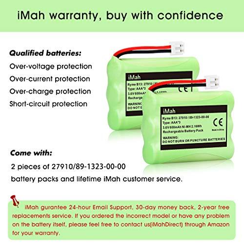 iMah 27910 Cordless Phone Battery Pack Compatible with AT&T 89-1323-00-0 Motorola SD-7501 Vtech 27910 I6725 RadioShack 23-959 Home Handset 3.6V Ni-MH, Pack of 2 Photo #6