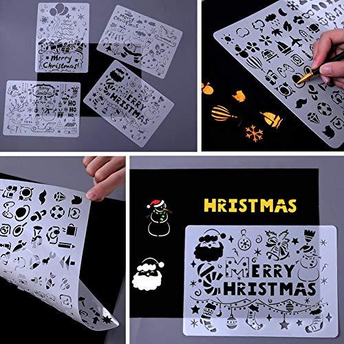 Navidad DIY Plantillas de pintura de dibujo hueco Plantillas de manualidades Plantilla de escala Plantillas...