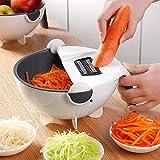 XKMY Cortador de verduras para frutas y verduras con cesta de drenaje multifunción para cocina y verduras
