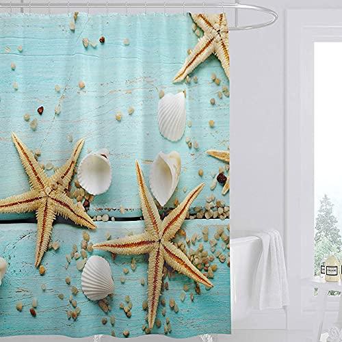 Shinichistar 72x72inch Wooden Starfish Shower Curtain Shell Hawaii Sea Bathroom Curtain Durable Waterproof Fabric Bathtub Sets Home Decor with 12 Hooks