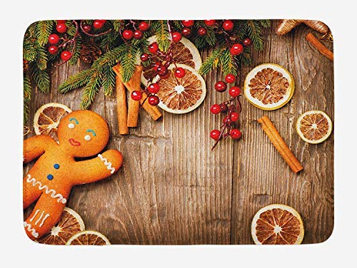 PdGAmats Gingerbread Man Bath Mat, Rustic Composition with Holly Berry Orange Slice Cinnamon And Biscuit 23.6 W X 15.7 W Inches