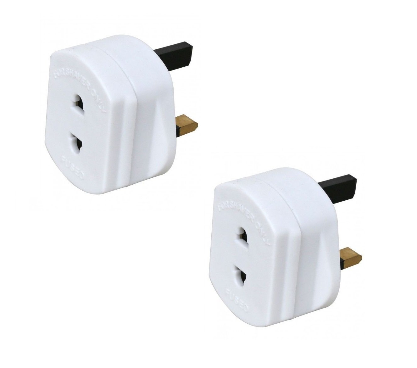 Invero® 2x Pack of Shaver Adaptor UK 3 Pin to 2 Pin Socket Plug Fuse ideal for Electric Toothbrush, Bathroom Shaving and more White