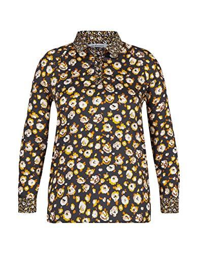 STEILMANN by Adler Mode Damen Bluse mit Raglanärmeln und Chacharelfalte schwarz/gelb/beige/braun 38