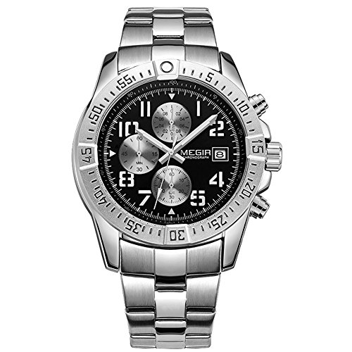 Megir Herren-Armbanduhr 2030GH Fashion Edelstahl Analog Quarz mit Kalender