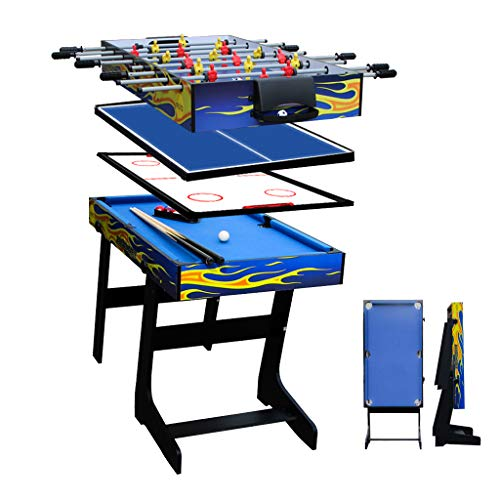 AIPINQI 4 in 1 Game Combination Tables, 122cm Mini Foosball/Soccer Table for Kids, Home Sports Mini Hockey Sets, Mini Table Tennis Table for Outdoor/Indoor, L48xW24xH32 inch Pool Table