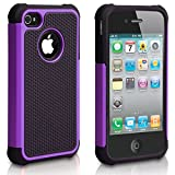 iPhone 4S Case, iPhone 4 Case, CHTech Fashion Shockproof Durable Hybrid Dual Layer Armor Defender Protective Case Cover for Apple iPhone 4S/4 (Purple)