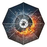 Paraguas de Viaje pequeño a Prueba de Viento al Aire Libre Lluvia Sol UV Auto Compacto 3 Pliegues Cubierta de Paraguas - Bola de Billar Agua de Fuego