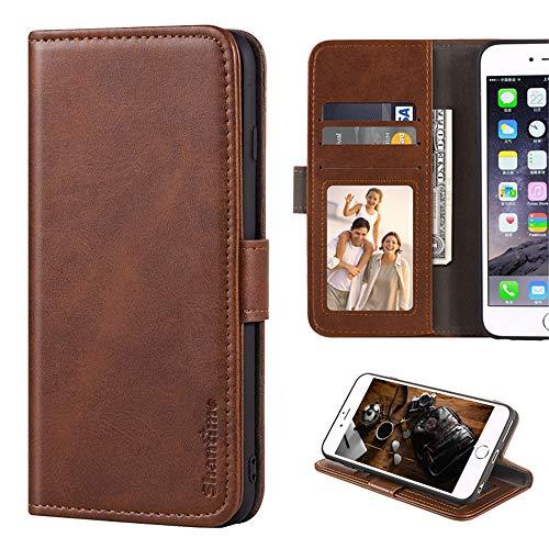 Leagoo Z6 Hülle, Leder Brieftasche Hülle mit Bargeld und Kartenfächern Weiche TPU Backcover Magnet Flip Hülle für Leagoo Z6, braun