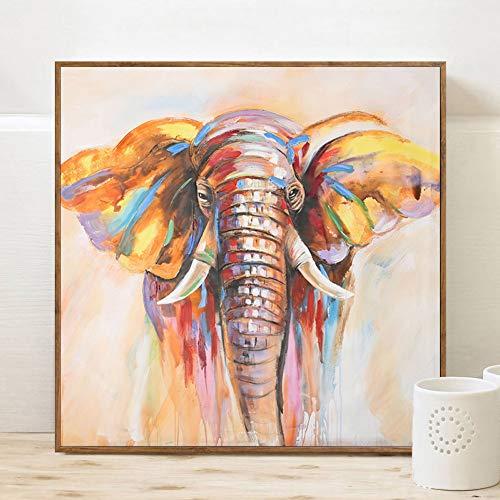 YCOLLC Lienzo de Pintura Pintura al óleo Abstracta Moderna Impresión en Arte de la Pared Posters Acuarela Decorativa Elefante Cuadros para Livingom Sin marco70x70cm