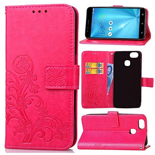 Guran® PU Ledertasche Hülle für Asus Zenfone Zoom S ZE553KL Smartphone Flip Cover Brieftasche & Stent Funktionen Hülle Glücksklee Muster Design Schutzhülle - Rose rot