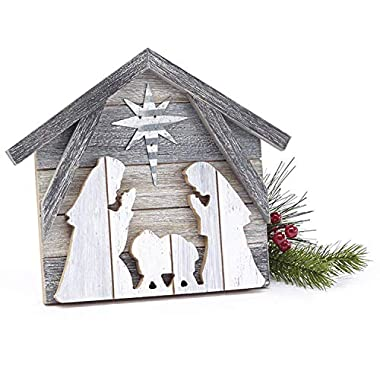 One Holiday Way Rustic Layered Wood Nativity Scene – Tabletop Christmas Decoration