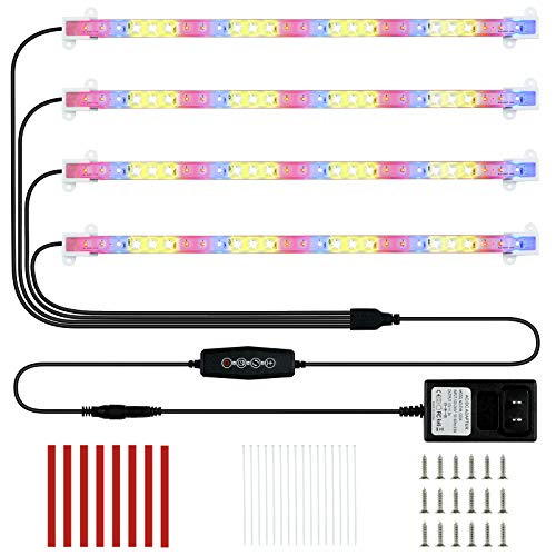 LED Plant Grow Light 4 Strips Full Spectrum Red Blue Sunlike Indoor Growing Lamp with Auto Cycle Timer 3/6/12 Hours, 5 Dimmable Levels, 3 Switch Modes for House Garden Seedling Hydroponics Succulent