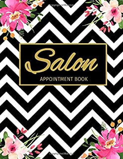 Salon Appointment Book: Undated 52 Weeks Monday To Sunday 8AM To 6PM Appointment Planner Black & White Pattern With Pink Flowers, Organizer In 15 Minute Increments