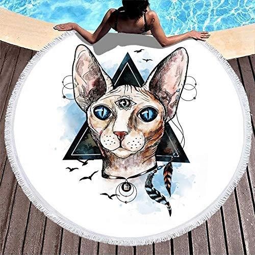 Toallas de Playa Myth Cat Third Eye Geometry Toalla de Playa con Flecos Tribales para el baño/la Piscina/la Playa/Las Horas de Picnic