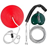 Happybuy 100 feet Zip Line Kit Kids Adult Zip Line Trolley Slackers Zip Lines with Seat and Handle Heart Shaped Trolley for Backyard Entertainment (Red)