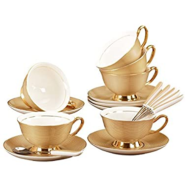 Jusalpha Porcelain Tea Cup and Saucer Coffee Cup Set with Spoon FD-TCS09 (Set of 6)