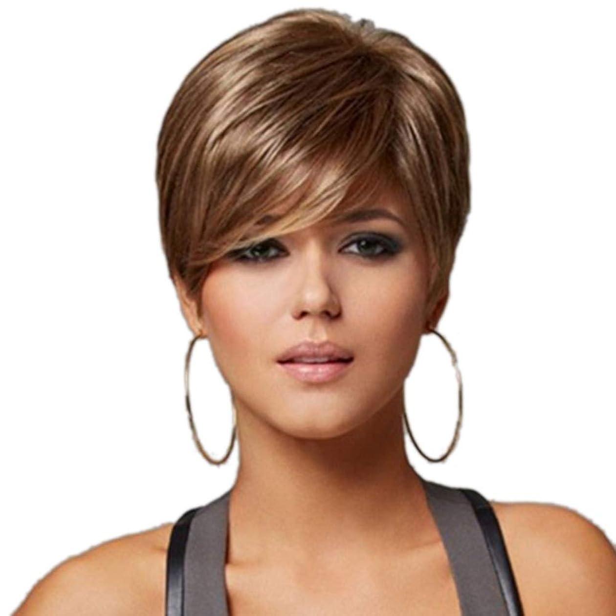 クスクス店員内なるWASAIO 女性ブラウンショートナチュラルウェーブ人工毛ウィッグ (色 : Blonde)