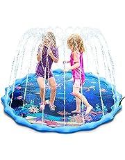Magicfun Splash Pad, 172cm Alfombra de Agua Almohadilla Aspersor de Juego con Animales Marinos para Niños 3+ Años, Juguetes de Agua Verano para Piscina Jardín Playa