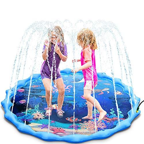 Magicfun Tappetino Gioco d'Acqua, 172cm Tappetino da Gioco Splash Pad con Animali Marini per Bambini 3+ Anni, Giocattolo Acqua Estivi all'Aperto per Piscina Giardino Spiaggia