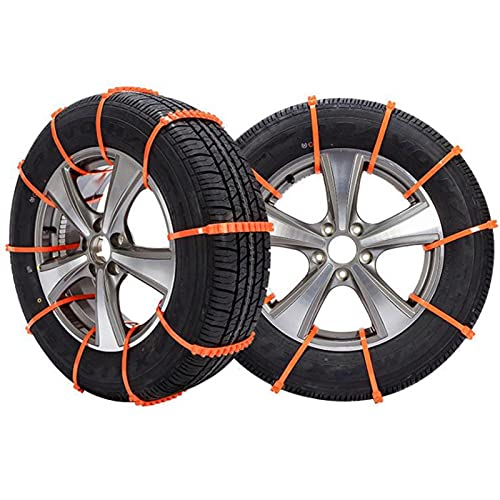 ZIHAN Feil Store Ajuste de neumáticos de Nieve Antideslizante Cadena de neumáticos de Emergencia Fit para Pista Coche 10 Paquete Naranja Auto Car Strub Correa Universal Correa