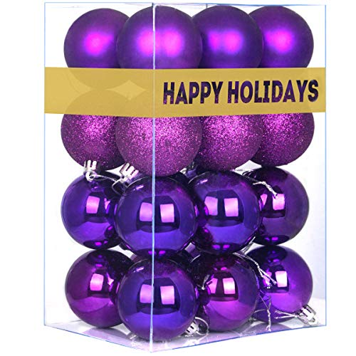 GameXcel 24Pcs Christmas Balls Ornaments for Xmas Tree - Shatterproof Christmas Tree Decorations Perfect Hanging Ball Purple 1.6' x 24 Pack