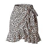 TENDYCOCO Swing Asimmetrico delle Donne del Leopardo dell'occultamento Alta Gonna di Bodycon Casuale della Vita Alta