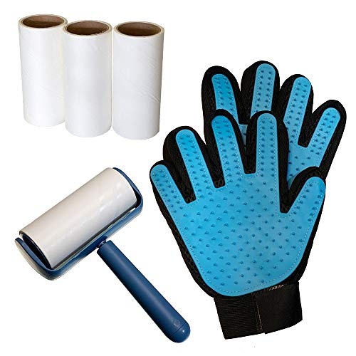 [Bathing, Shedding, Hair Remover Kit] Woof's Kit Includes Pet Grooming Gloves + Sticky Lint Roller + 3 Extra Sticky Paper Rolls | Hair Removal Combo for Dogs & Cats with Long & Short Fur