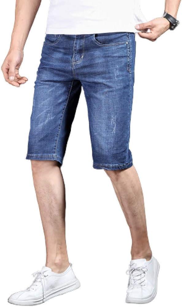Men's Shorts Summer Thin Embroidered Denim Shorts Straight Slim Elastic