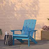 Merrick Lane Riviera Azure Blue Adirondack Patio Chairs with Vertical Lattice Back and Weather Resistant Frame