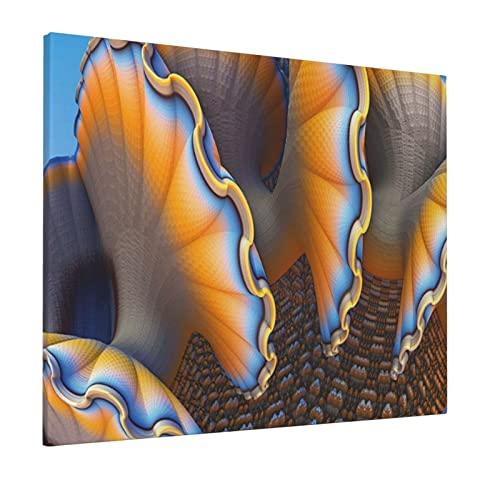 M-shop Pintura 40,6 x 50,8 cm Decoración náutica Fantástica Conchas En El Mar Océano Ciencia ficción Estilo Destacado Artsy Graphic Es Azul Albaricoque Panorámico Lienzo Pared Art
