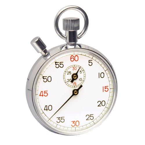 h-b instrument Durac analoog stopwatch met kroonstopper, koper verchroomd, 30 Minute 1/5 Second Intervals, 1