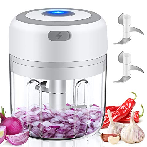 Electric Mini Garlic Chopper Food Chopper, 250ML Mini Food Processor for Ginger Meat, Portable 1 CUP USB Garlic Mincer, Waterproof Garlic Crusher for Chili, Garlic Slicer, Veggie Chopper Mini Chopper