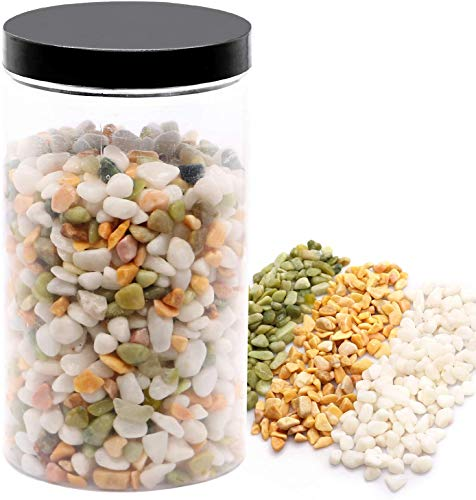 Wohoho Decorative Rocks Mixed Color Polished Bean Pebbles Garden Gravel White Rocks Stones with Green, and Yellow Pastel Accents Natural Stone Top Dressing Succulent Cactus Bonsai DIY Rocks 2.2 lbs