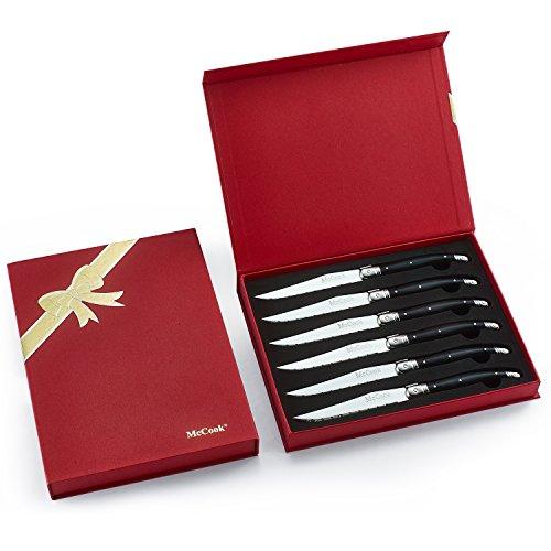 McCook MC51 6 Pieces Laguiole Steak Knife Set in Gift Box,Black
