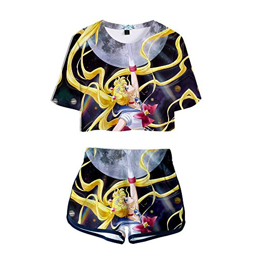 Unisex Anime Sailor Moon Casual Manga Corta Tops Cuello Redondo Camiseta + Pantalones Cortos 2 Piezas/Set