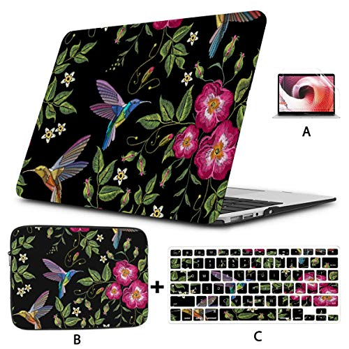 A1466 Case Embroidery Humming Bird with Glorious Flowers A1466 Case Hard Shell Mac Air 11'/13' Pro 13'/15'/16' with Notebook Sleeve Bag for MacBook 2008-2020 Version