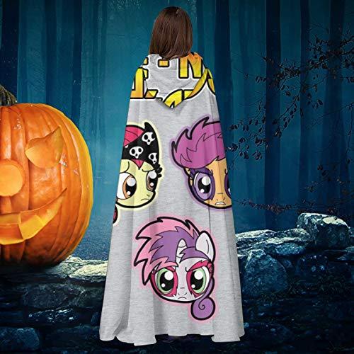 OJIPASD My Little Pony Cutie Mark Crusaders Unisex Navidad Halloween Bruja Caballo con capucha Vampiros Capa Cosplay Disfraz