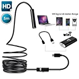 Wireless Endoscope Wallfire Semi-Rigid WiFi Borescope for iPhone PC Android Smartphone Inspection Camera 2.0 Megapixels CMOS HD Waterproof Snake Camera with 6 Adjustable Led Light - 16.4 ft(5 Meter)