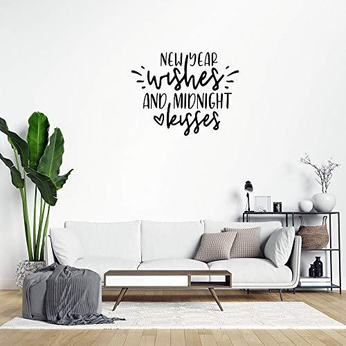 Adhesivo decorativo para pared, diseño de deseos de año nuevo y besos de medianoche, de PVC, extraíble, para decoración del hogar, sala de estar, cocina