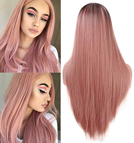 Fani Fashion Orange Pink Women's Wigs Silk Straight Ombre Pink Wig 22 Inch Dark Brown Roots Non-Lace Front Middle Part Synthetic Cosplay Halloween Wig
