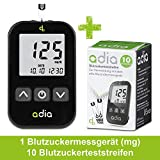 adia Blutzuckermessgerät inkl. 10 Teststreifen für Diabetiker zur Kontrolle des