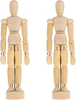 Toyvian Wooden Figure Model Human Manikin Jointed Mannequins for DIY Craft Painting Home Office Desk Decoration 2Pcs
